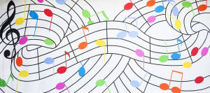 Colorful Musical Notes Backdrop