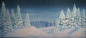 Night Snow Landscape 8 Backdrop