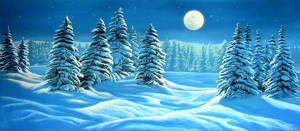 Night snow landscape backdrop used in the production of the Nutcracker