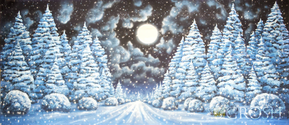 Snow covered landscape backdrop for Christmas Carol plays