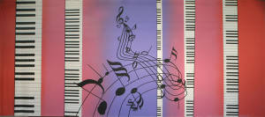 Piano Keys with Musical Notes Backdrop