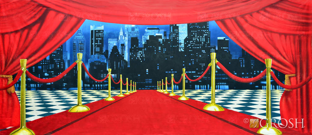 Red Carpet Cityscape Backdrop