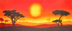 African Sun Landscape backdrop for Lion King, Madagascar, Africa, Jungle Book plays and productions