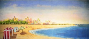 Beach Scene backdrop for New England, Guys and Dolls, Atlantic City, The Boyfriend plays and productions
