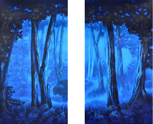 Blue Night Forest Legs Set Backdrop