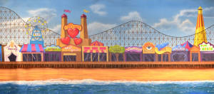 Boardwalk backdrop for Carousel, Grease, and Big, Ragtime, birthday parties, beaches plays and productions