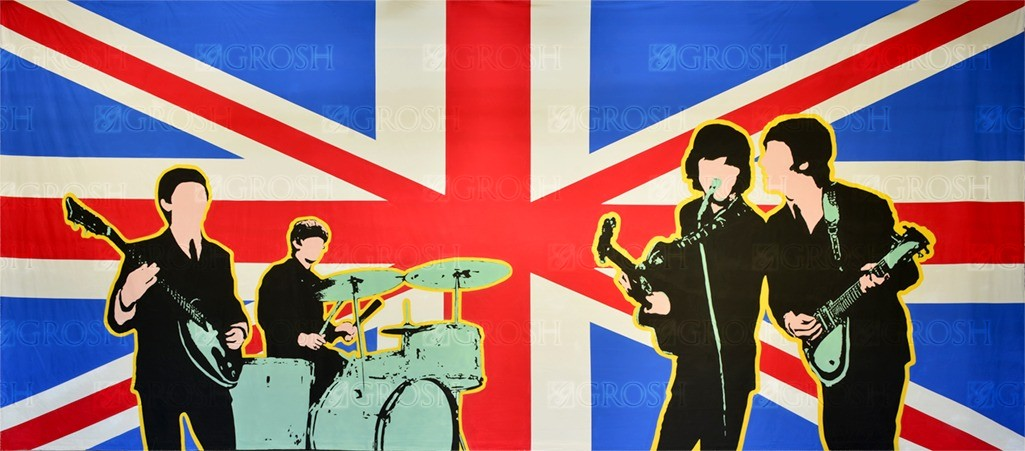 British Invasion backdrop for Beatles, Britain, England, Fab Four, music, rock n' roll, rock star, rockstar, The Beatles, Union Jack plays and productions