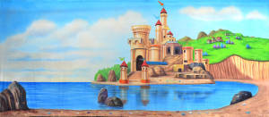Castle by the Beach backdrop for Lost City of Atlantis, Little Mermaid, Finding Nemo, Ariel, Fairytale plays and productions