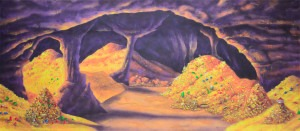 Cave of Wonders backdrop for Aladdin plays and productions