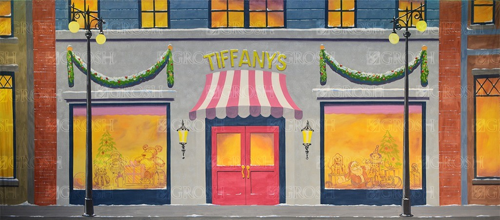 Christmas Storefront backdrop for Christmas, Xmas, Exteriors, Breakfast at Tiffany's, streets and shopping plays and productions