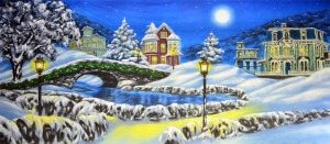 Christmas Village backdrop for Santa Claus, holiday, Christmas Carol, Scrooge, It's a Wonderful Life plays and productions