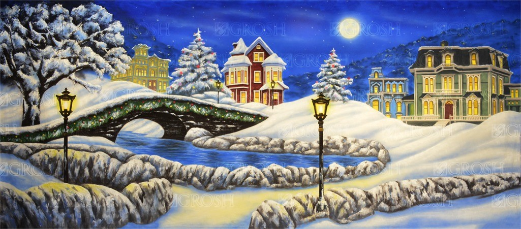Christmas Village backdrop for Christmas Carol, Scrooge, It's a Wonderful Life, holiday, Santa, Santa's Village, Xmas plays and productions