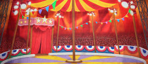 Circus Tent Interior backdrop for Carousel, State Fair, Big, Grease, Dumbo, Barnum, Annie Get Your Gun, Pinocchio, Mr. President plays and productions