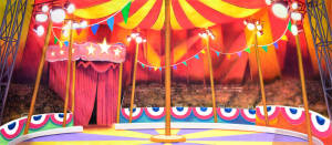 Circus Tent Interior backdrop for Carousel, State Fair, Big, Grease, Dumbo, Barnum, Annie Get Your Gun, Pinocchio, Mr. President, Show Boat plays and productions