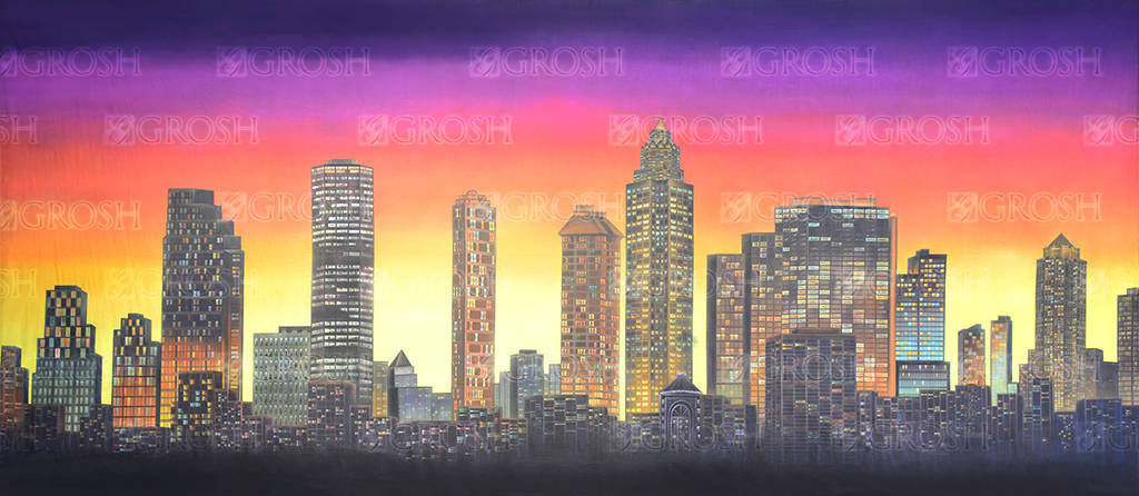 City Landscape backdrop for Bells are Ringing, Chicago, New York, How to Succeed in Business Without Really Trying and Mame plays and productions