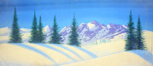 Day Snow Landscape Backdrop used in productions of the Nutcracker