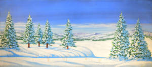 Day Snow Landscape for Nutcracker, Skiing themes, holiday parties, Christmas, winter events, Frozen, North Pole, Santa plays and productions