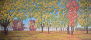 Daytime Fall Landscape backdrop for autumn, four seasons, Hello Dolly, Music Man, park, State Fair, Sunday in the Park with George plays and productions