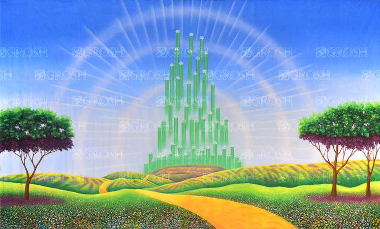 Emerald City backdrop for Wizard of Oz, Wicked and The Wiz plays and productions