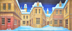 English Winter Village backdrop for Scrooge, Christmas Carol, Nutcracker and Christmas plays and productions