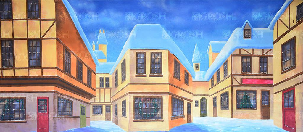 English Winter Village backdrop for Nutcracker, Scrooge, A Christmas Carol, Winter and Christmas theme plays and productions