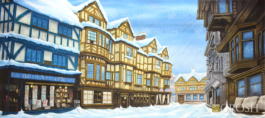 European Winter Street backdrop is ideal for productions of A Christmas Carol and Scrooge