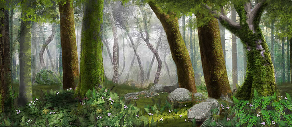 Forest Panel 3 backdrop for The Jungle Book, Tarzan, The Lion King, Into the Woods, foliage, Narnia, Lord of the Rings plays and productions