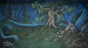 Forest 15 backdrop for Midsummer Night's Dream, Addams Family, Alice in Wonderland, Beauty and the Beast, Brigadoon, Coppelia, Halloween, Hansel and Gretel, Into the Woods, Peter Pan, Pinocchio, Shrek, Sleeping Beauty, Snow White, Stranger Things and Wizard of Oz plays and productions