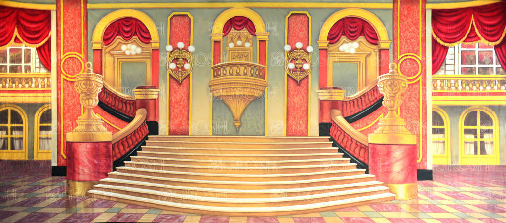 Grand Ballroom backdrop for Hamlet, Macbeth, Beauty and the Beast, Cinderella, Mame, Nutcracker, Sound of Music, Hello Dolly, Phantom of the Opera, Swan Lake plays and productions