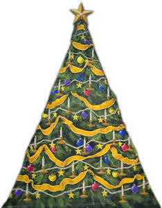 Growing Christmas Tree backdrop for Nutcracker, Clara's Gift, Santa Claus, Xmas, St. Nick, Scrooge, A Christmas Carol plays and productions