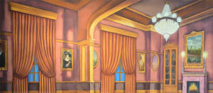 Interior Room backdrop for Annie, Charlie's Aunt, Scrooge, Call Me Madam, Music Man, My Fair Lady, Irene, Mame, Sound of Music, Nutcracker backdrops, Cinderella plays and productions
