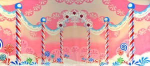 Lace Candyland backdrop for e Nutcracker, Charlie and the Chocolate Factory, dance recitals, Willy Wonka plays and productions