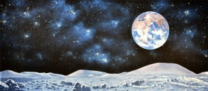 Lunar Landscape backdrop for moon, solar system, space, Milky Way, galaxy, interstellar, cosmos, stars, Earth, lunar, school plays and theater productions