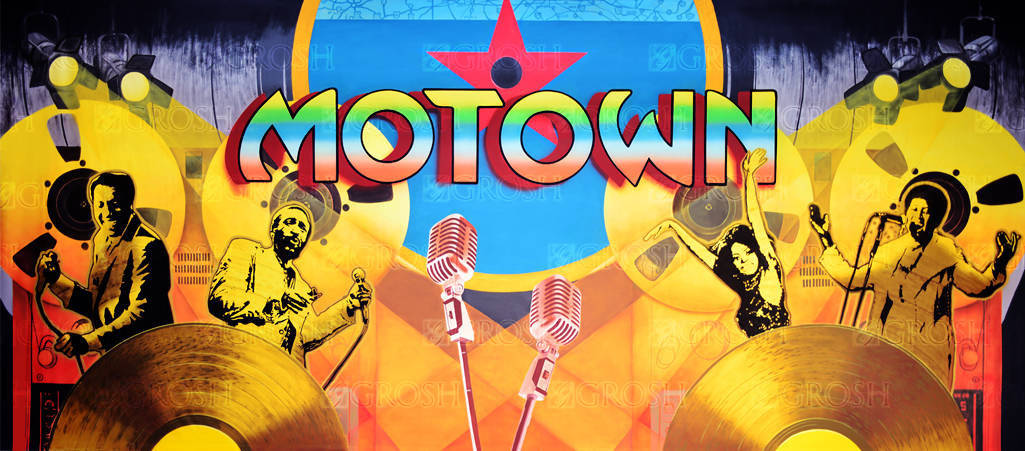 Motown backdrop for dance, music, musical, recital, Motown, Marvin Gaye, Night at the Apollo, records, recording, vinyl, soul, R&B, rhythm and blues, 1960s, 60s themes, Smokey Joe's cafe plays and productions