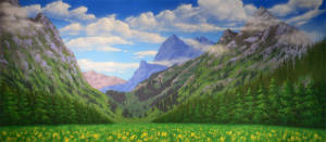 Grosh Mountain Landscape Backdrop used in shows The Sound of Music and Seven Brides for Seven Brothers