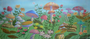 Mushroom backdrop for Alice in Wonderland Plays, Through the Looking Glass, Tom Thumb, and Thumbelina