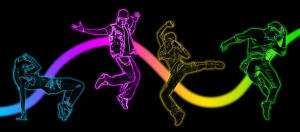 Neon Dancers backdrop for dance recital, event planner, dancing, abstract plays and productions