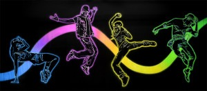 Neon Dancers backdrop for break dancing, dance, recital, dance recital, hip hop, jazz, tap, tap dancing, school plays and theater productions