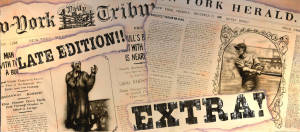 Newspaper backdrop for Newsies, Through the Decades, newsroom, newspaper, headline news, breaking news, print, New York Times plays and productions