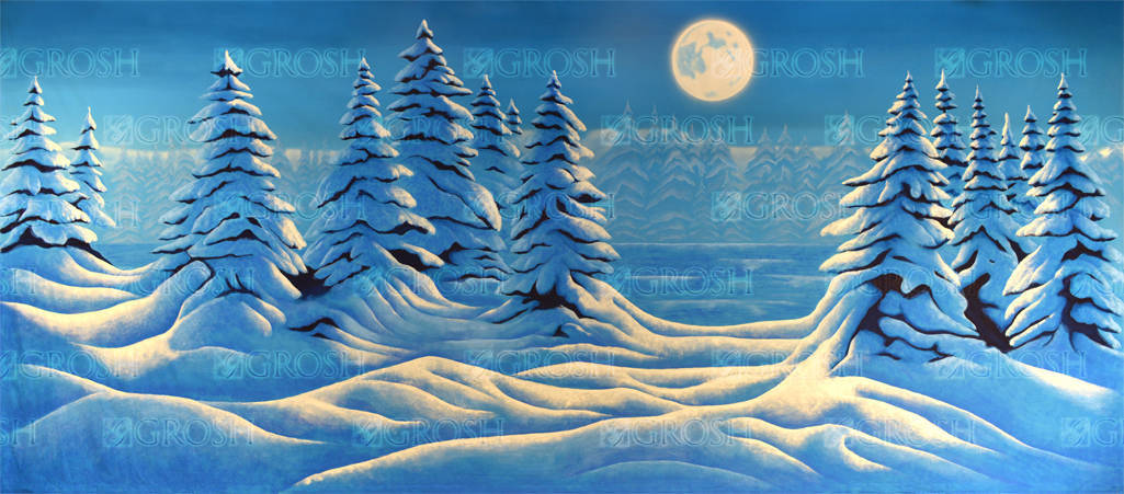 Night Snow Landscape backdrop for Nutcracker, Christmas, Holiday, Winter, Xmas, Dr. Zhivago, Frozen, Santa Claus, holidays, mountain landscape, Narnia, Rudolph plays and productions