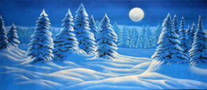Night Snow Landscape backdrop for Nutcracker, Frozen, Christmas Carol plays and productions