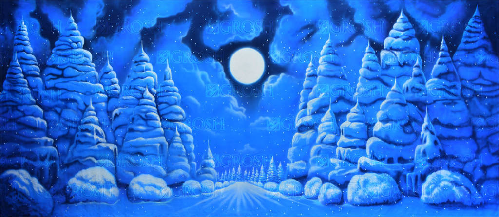 Night Snow Landscape backdrop for Frozen, The Nutcracker, Christmas Carol plays and productions