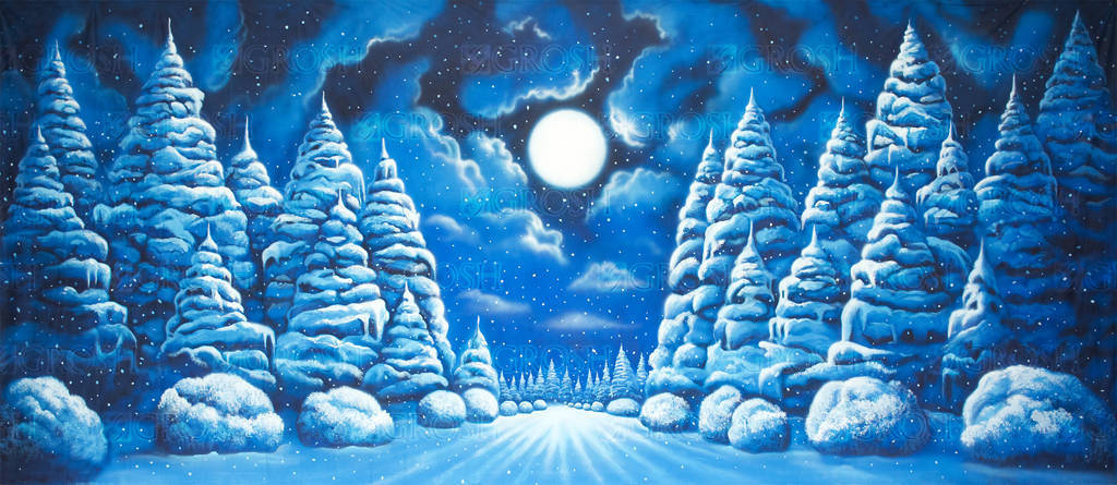 Night Snow Landscape backdrop for Frozen, Nutcracker, Christmas Carol, Scrooge, Clara's Gift plays and productions