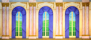 Ornate Palace Interior backdrop for The Little Mermaid, Annie, Charlie's Aunt, Scrooge, Call Me Madam, Music Man, My Fair Lady, Irene, Mame, Sound of Music, Nutcracker backdrops, Cinderella, Ballroom plays and productions