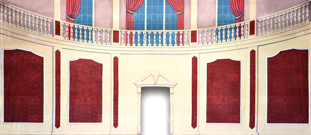 Parlor with Cut Door backdrop for nnie, Once Upon A Mattress, Damn Yankees, Hello Dolly, My Fair Lady, Nutcracker, Cinderella plays and productions