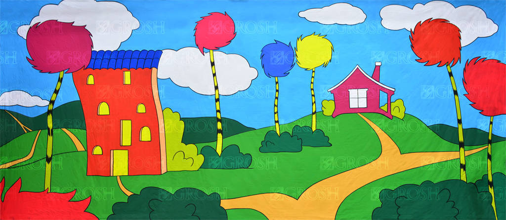Seussical backdrop for Cat in the Hat, Seussical the Musical, Dr. Seuss plays and productions