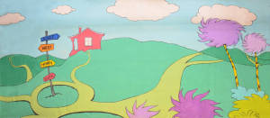 Seussical backdrop for Dr. Seuss and Seussical the Musical plays and productions