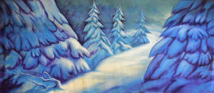 Stylized Snow backdrop for A Christmas Carol, Dr.Zhivago, Nutcracker and Frozen plays and productions