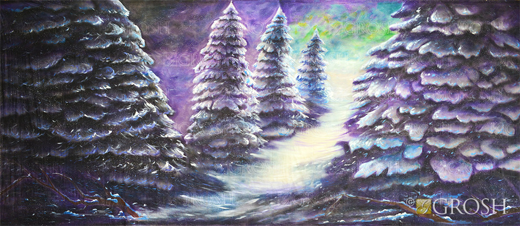 Stylized Night Snow 3 Backdrop