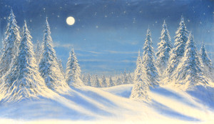 Night Snow with Full Moon Backdrop